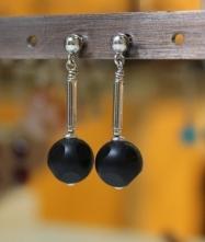 Boucles d'oreilles en Onyx Noir du Brésil